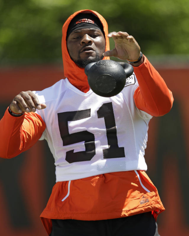 Cleveland Browns linebacker Jamie Collins Sr. works through a drill during a practice at the NFL football team's training camp facility, Wednesday, May 23, 2018, in Berea, Ohio. (AP Photo/Tony Dejak)