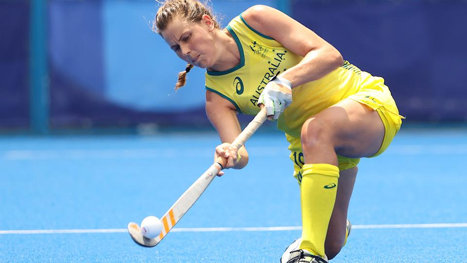 Madison Mae Fitzpatrick, pictured here in action for the Hockeyroos at the Olympics.