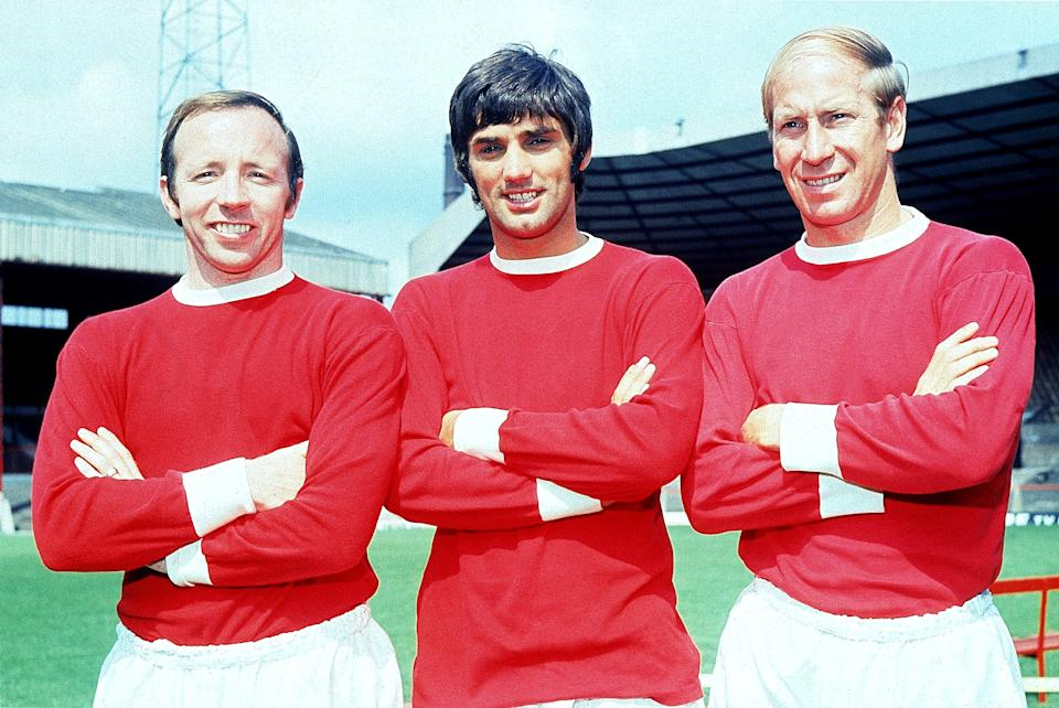 <p>Stiles (left) with George Best and Bobby Charlton in his Man Utd days.</p>Getty Images