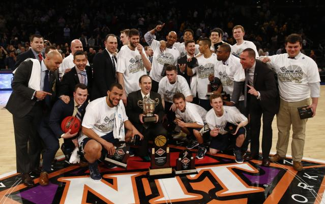 The NCAA will implement four experimental rules changes for this year's NIT. George Washington won the tournament in 2016. (Photo by Jeff Zelevansky/Getty Images)