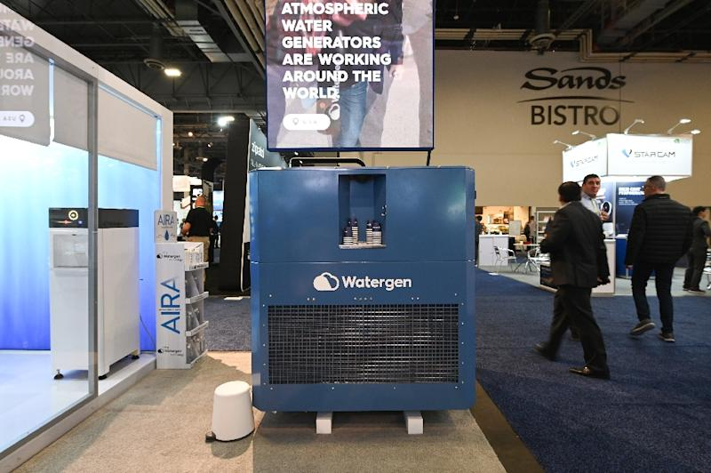 Watergen's GEN-350 machine, which extracts potable water from the air, is seen at the Consumer Electronics Show in Las Vegas (AFP Photo/Robyn Beck)