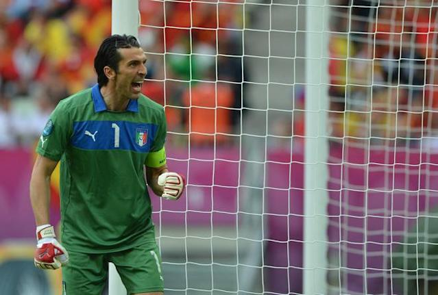Italian goalkeeper Gianluigi Buffon reacts during the Euro 2012 championships football match Spain vs Italy on June 10, 2012 at the Gdansk Arena. AFP PHOTO / GABRIEL BOUYSGABRIEL BOUYS/AFP/GettyImages