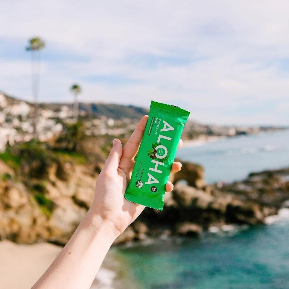 """<p>""""Want a one-sentence review? <span>Aloha Chocolate Mint Protein Bars</span> ($30 for 12) taste like Thin Mints. (I'll give you more than that, but really, that says it all.) Texture, rich chocolaty taste and tinges of cool mint . . . it all lines up, except, of course, that Aloha's protein bar has 14 grams of protein and only five grams of sugar."""" - Maggie Ryan, assistant editor, Fitness</p>"""