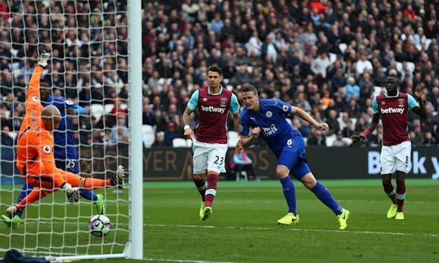 """<span class=""""element-image__caption"""">Robert Huth heads home Leicester's second goal.</span> <span class=""""element-image__credit"""">Photograph: Steve Bardens/Getty Images</span>"""