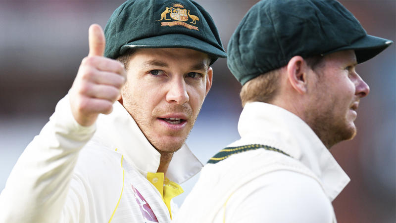 Aussie captain Tim Paine (pictured left) putting his thumb up.