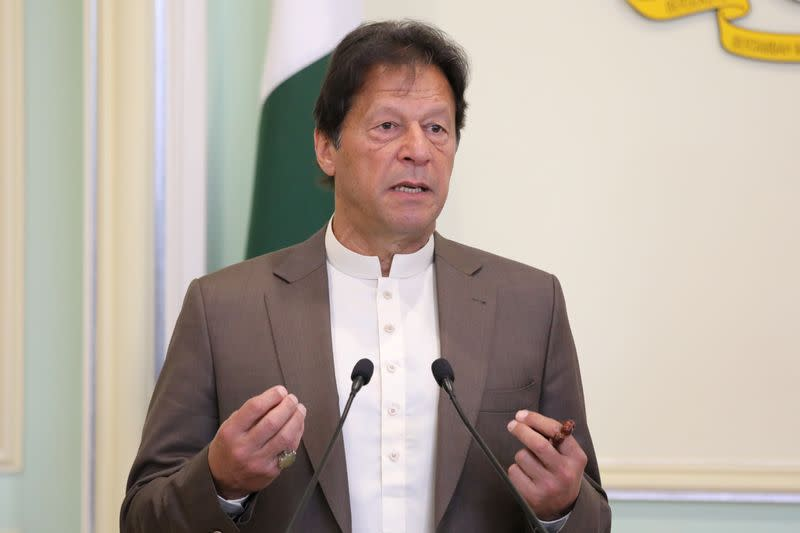 Pakistan's Prime Minister Imran Khan speaks during a joint news conference with Malaysia's Prime Minister Mahathir Mohamad (not pictured) in Putrajaya
