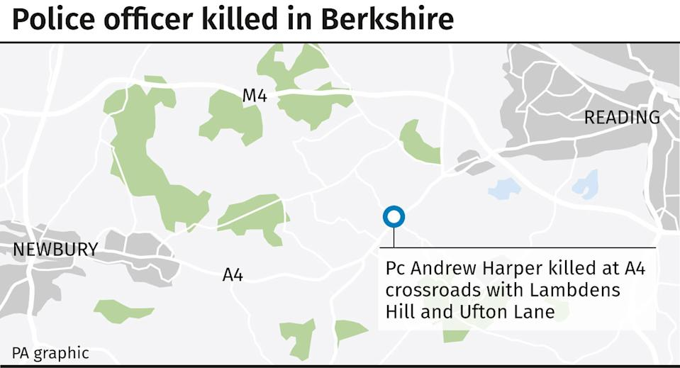 Police officer killed in Berkshire. See story POLICE Berkshire. Editable versions of this graphic are available via PA Graphics or your account manager. Infographic by PA Graphics