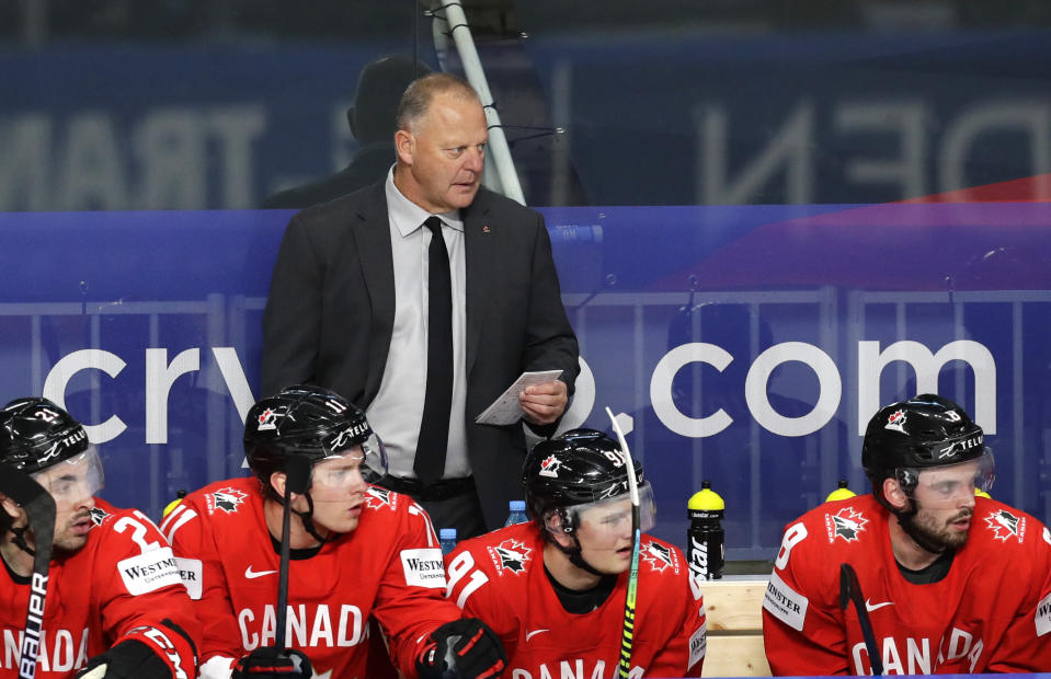 Canada's head coach Gerard Gallant during the Ice Hockey World Championship group B match between Canada and United States at the Arena in Riga, Latvia, Sunday, May 23, 2021. (AP Photo/Sergei Grits)
