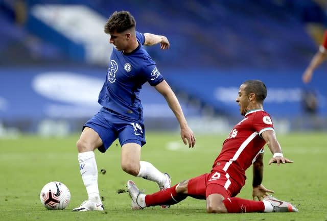 Liverpool's Thiago Alcantara, right, made a positive impression on his Premier League debut at Chelsea