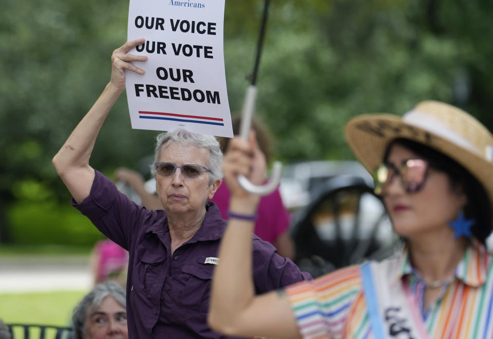 Supporters of voting rights join a rally on the steps of the Texas Capitol, Thursday, July 8, 2021, in Austin, Texas. (AP Photo/Eric Gay)