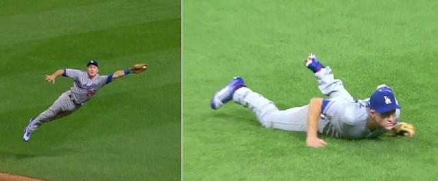 Chase Utley sells out to preserve Rich Hill's perfect game bid. (MLB.TV)