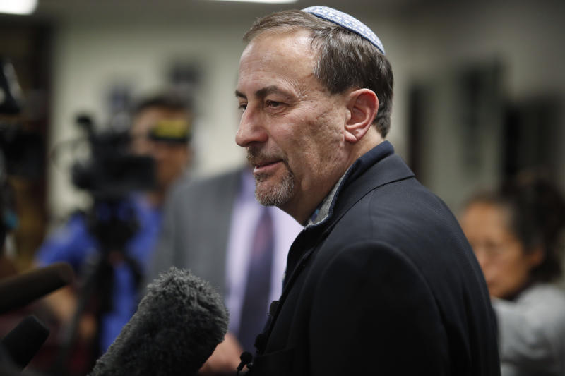 Scott L. Levin, Mountain States regional director of the Anti-Defamation League, talks to reporters after a news conference in Denver on Monday, Nov. 4, 2019, after officials announced the arrest of a man who repeatedly espoused anti-Semitic views in a plot to bomb a historic Colorado synagogue in Pueblo. (AP Photo/David Zalubowski)