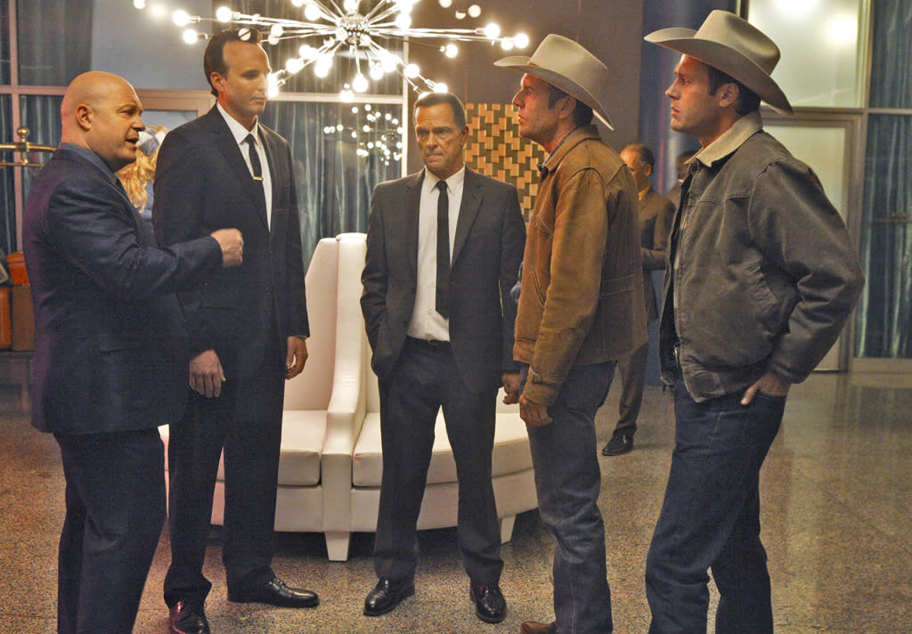 """<b>""""Vegas"""" (Fall Drama)</b><br><br>""""Vegas"""" is a drama inspired by the true story of former Las Vegas Sheriff Ralph Lamb, a fourth generation rancher tasked with bringing order to Las Vegas in the 1960s, a gambling and entertainment Mecca emerging from the tumbleweeds. Michael Chiklis stars as Vincent Savino, a ruthless Chicago gangster who plans to make Vegas his own. Dennis Quaid stars as Ralph Lamb and Jason O'Mara stars as Jack, Lamb's diplomatic deputy and brother."""