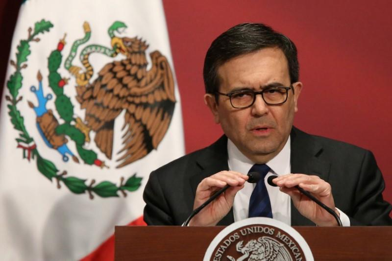 "Mexico's Economy Minister Ildefonso Guajardo delivers a speech during a ""Made in Mexico"" event"