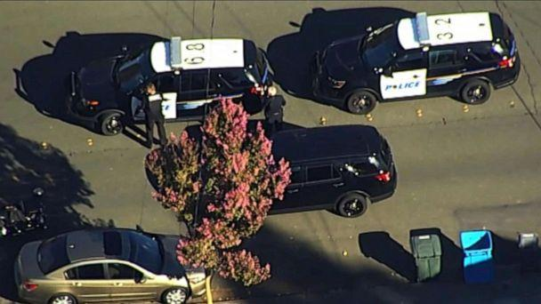 PHOTO: Police vehicles respond near the scene of a reported shooting near Ridgway High School in Santa Rosa, Calif., Oct. 22, 2019. (KGO)