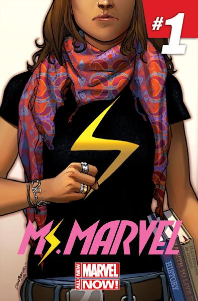 """This comic book cover image released by Marvel Comics shows character Kamala Khan on the """"Ms. Marvel"""" issue. The new monthly Ms. Marvel is debuting as part of the Company's popular All-New Marvel NOW! initiative. (AP Photo/Marvel Comics)"""