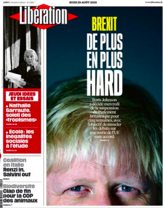 """France's Liberation ran a front page photo of Mr Johnson under a headline of """"Brexit – harder and harder"""". (Twitter)"""