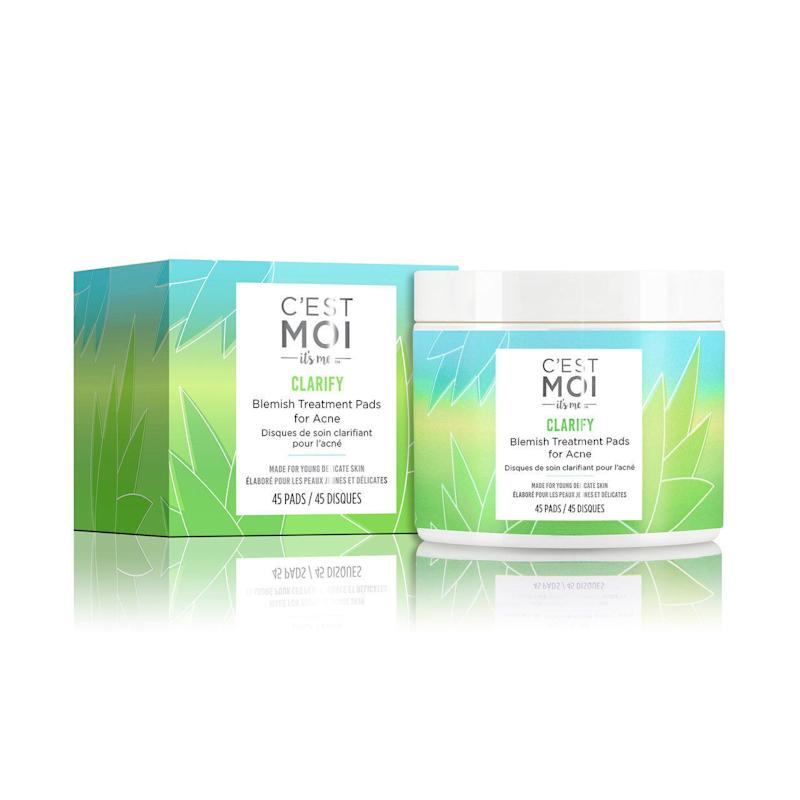 """These <strong><a href=""""https://www.cestmoi.com/clarify-blemish-treatment-pads-for-acne/"""" target=""""_blank"""" rel=""""noopener noreferrer"""">C'est Moi Blemish Treatment Pads</a></strong> for acne are meant to clean away dirt, excess oil, sweat and other impurities while soothing and calming the skin.&nbsp;<br /><strong><a href=""""https://www.cestmoi.com/clarify-blemish-treatment-pads-for-acne/"""" target=""""_blank"""" rel=""""noopener noreferrer"""">Find it for $12.99 at C'est Moi.</a></strong>"""