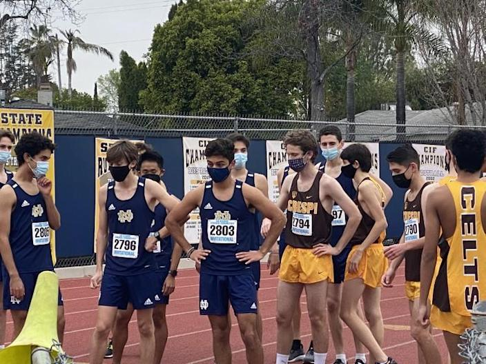 Cross-country runners from Crespi and Sherman Oaks Notre Dame competed two weeks ago.