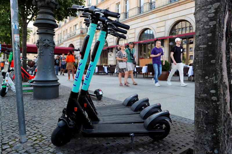Tier e-scooters are pictured in front of Adlon hotel in Berlin, Germany, August 8, 2019. REUTERS/Fabrizio Bensch