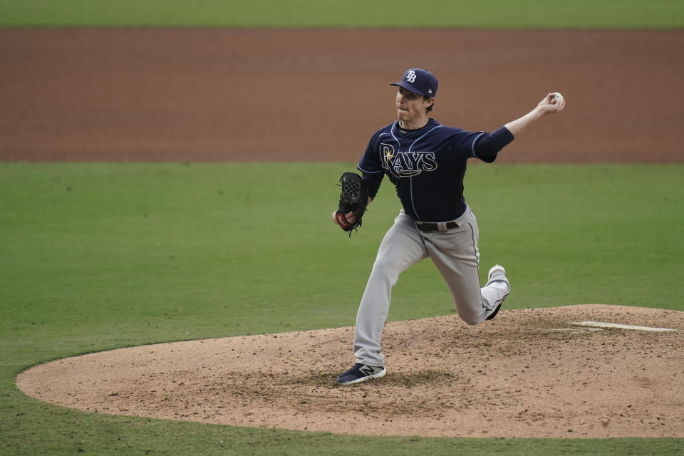 Tampa Bay Rays relief pitcher Ryan Yarbrough throws against the New York Yankees during the fourth inning in Game 4 of a baseball American League Division Series Thursday, Oct. 8, 2020, in San Diego. (AP Photo/Jae C. Hong)