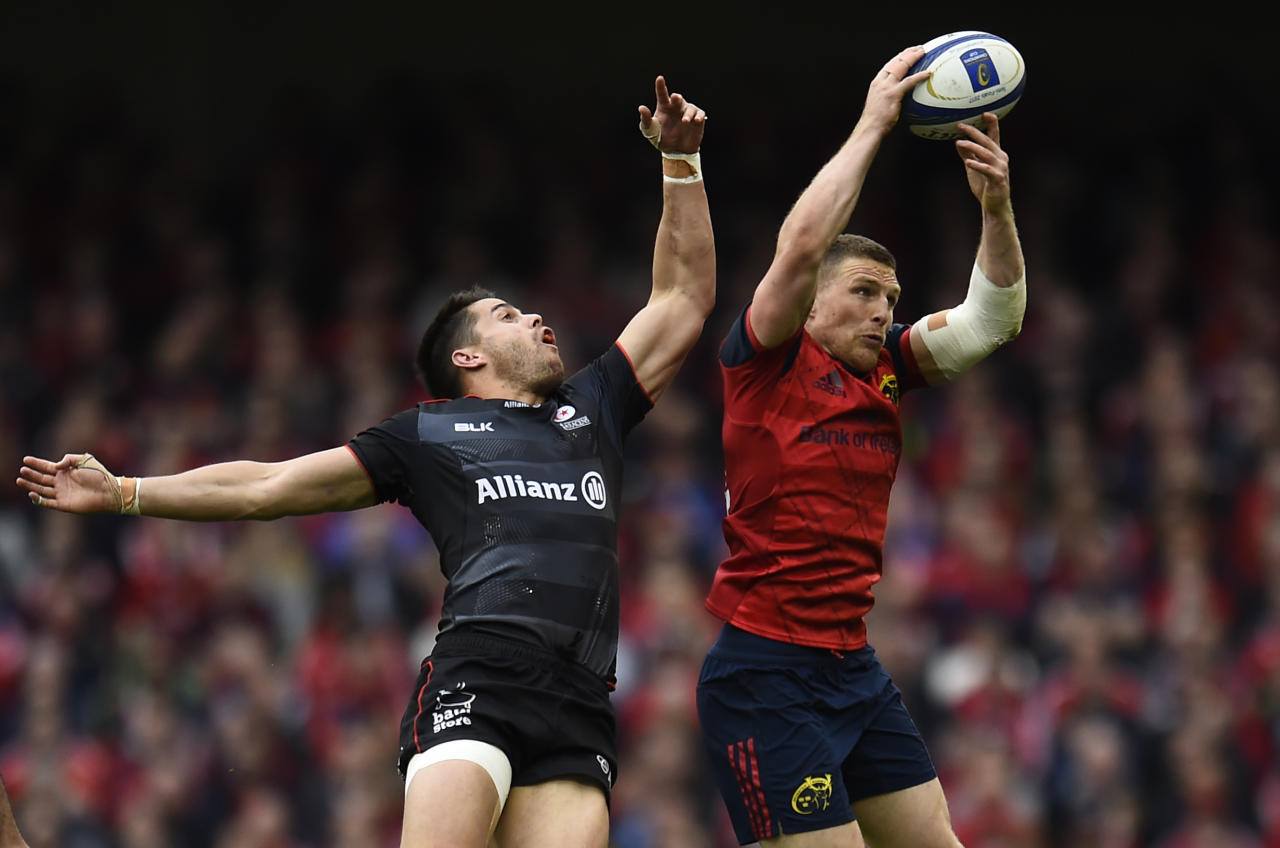 Rugby Union - Munster Rugby v Saracens - European Rugby Champions Cup Semi Final - Aviva Stadium, Dublin, Republic of Ireland - 22/4/17 Munster's Andrew Conway in action against Saracens Sean Maitland Reuters / Clodagh Kilcoyne Livepic