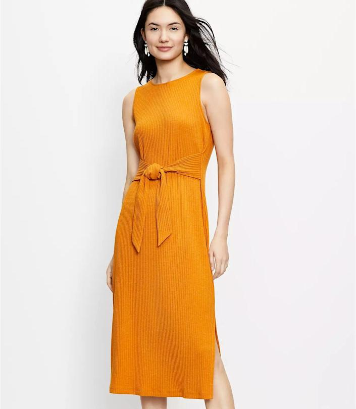 <p>This sleeveless <span>Loft Tie Waist Midi Dress</span> ($80, plus 40 percent off with code WOW) is made even more flattering with the tie waist and side slit. It will feel easygoing and effortless for your weekend adventures.</p>