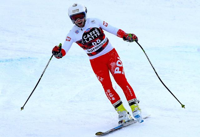 Polish skier Pawel Babicki finished a downhill race on just one ski. (AP Photo)