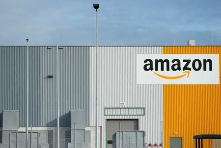 A view of the new Amazon logistic center with the company's logo in Dortmund
