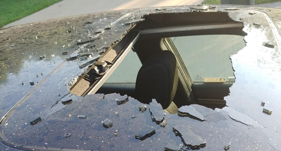 The sunroof of a Missouri woman's car shattered when a bottle of dry shampoo exploded.