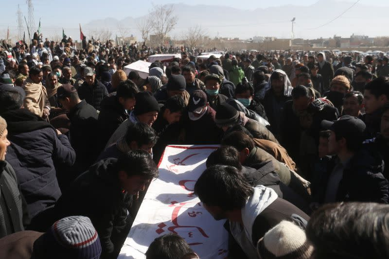 Funeral of the coal miners from Shi'ite Hazara minority, who were killed in an attack in Mach area of Bolan district, in Quetta,