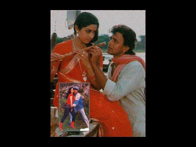 <b>Mithun and Sridevi</b><br>The Disco-Dancer of Bollywood Mithun and the Chandni of many hearts Sridevi were once head-over-heels in love with each other. Their love blossomed on the sets of Jaag Utha Insaan. However, since Mithun was already married to actress Yogita Bali, they never accepted their affair in the public. As we know, that media literally works over-time when it comes to love affairs of film stars, soon this relationship also came in the limelight.