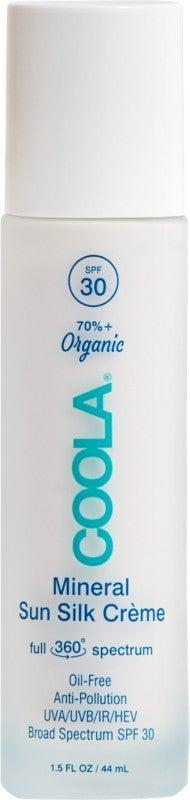 """<h2>Coola Mineral Sun Silk Crème SPF 30<br></h2><br>With a light, airy oil-free texture and transparent finish, you might genuinely forget you're wearing sunscreen after smoothing on this protective lotion, even as it defends skin against blue light, infrared light, UVA and UVB rays, <em>and</em> pollution.<br><br><strong>Coola</strong> Full Spectrum 360° Mineral Sun Silk Crème SPF 30, $, available at <a href=""""https://go.skimresources.com/?id=30283X879131&url=https%3A%2F%2Fwww.ulta.com%2Fp%2Ffull-spectrum-360-mineral-sun-silk-creme-spf-30-pimprod2003906"""" rel=""""nofollow noopener"""" target=""""_blank"""" data-ylk=""""slk:Ulta Beauty"""" class=""""link rapid-noclick-resp"""">Ulta Beauty</a>"""