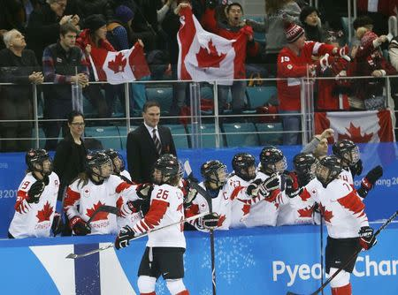Ice Hockey - Pyeongchang 2018 Winter Olympics - Women's Semifinal Match - Canada v Olympic Athletes from Russia - Gangneung Hockey Centre, Gangneung, South Korea - February 19, 2018 - Emily Clark of Canada celebrates with team mates. REUTERS/Brian Snyder