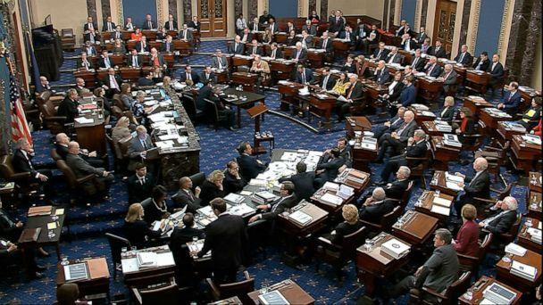 PHOTO: In this image from video, Senators vote on approving the rules for the impeachment trial against President Donald Trump in the Senate at the U.S. Capitol in Washington, Wednesday, Jan. 22, 2020. (AP)