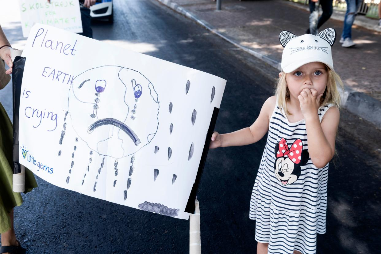 Cypriot students and families take part in a protest against climate change in the Cypriot capital Nicosia on September 20, 2019. (Photo: Iakovos Hatzistavrou/AFP/Getty Images)