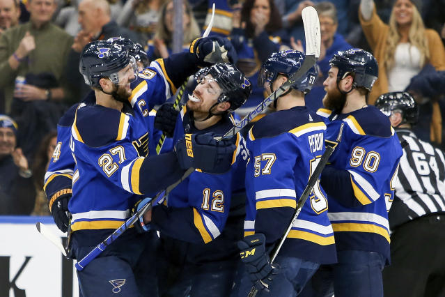 St. Louis Blues' Zach Sanford (12) is congratulated by teammates after scoring a goal during the second period of an NHL hockey game against the Winnipeg Jets, Thursday, Feb. 6, 2020, in St. Louis. (AP Photo/Scott Kane)