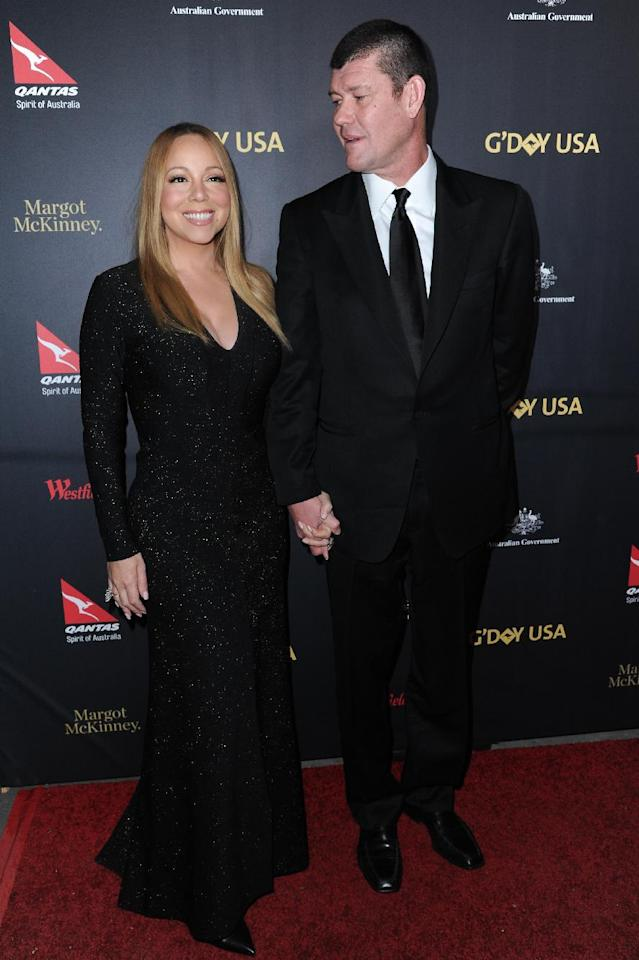 Mariah Carey, left, and James Packer attend the 2016 G'Day USA LA Gala held at Vibiana on Thursday, Jan. 28, 2016, in Los Angeles. (Photo by Richard Shotwell/Invision/AP)