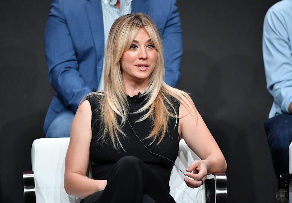 Kaley Cuoco speaks onstage during the 2019 Summer TCA Press Tour on July 23, 2019 in Beverly Hills, Calif.
