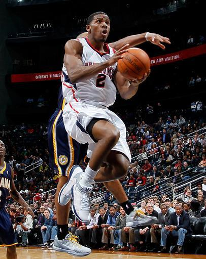 ATLANTA, GA - FEBRUARY 08: Joe Johnson #2 of the Atlanta Hawks drives the basket against the Indiana Pacers at Philips Arena on February 8, 2012 in Atlanta, Georgia. (Photo by Kevin C. Cox/Getty Images)