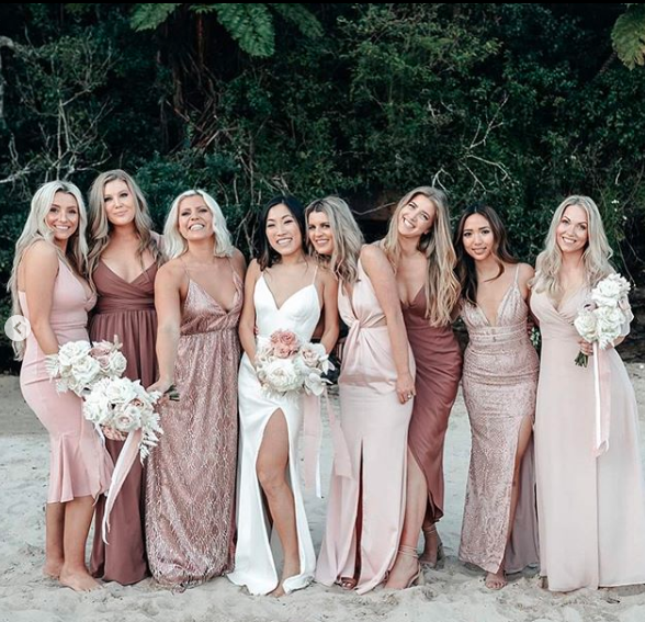 Jane Lu and her bridesmaids on the beach