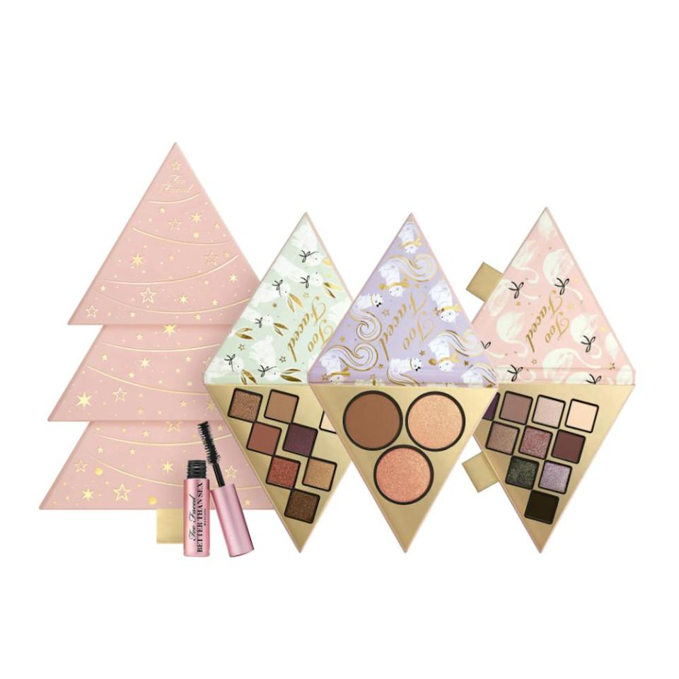 """<p>For under $50, you can gift (or get) three different palettes totaling 18 eyeshadows, three face products and a mini mascara. You can gift the set as a tree or break it up into three sections to share the Too Faced love.<br><strong><a rel=""""nofollow noopener"""" href=""""https://fave.co/2PoWRfC"""" target=""""_blank"""" data-ylk=""""slk:Shop it"""" class=""""link rapid-noclick-resp"""">Shop it</a>: </strong>$49, <a rel=""""nofollow noopener"""" href=""""https://fave.co/2PoWRfC"""" target=""""_blank"""" data-ylk=""""slk:sephora.com"""" class=""""link rapid-noclick-resp"""">sephora.com</a> </p>"""