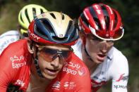 Italy's Giulio Ciccone, right, and Belgium's Dylan Teuns, climb La Planche des Belles Filles during the sixth stage of the Tour de France cycling race over 160 kilometers (100 miles) with start in Mulhouse and finish in La Planche des Belles Filles, France, Thursday, July 11, 2019. (AP Photo/Christophe Ena)