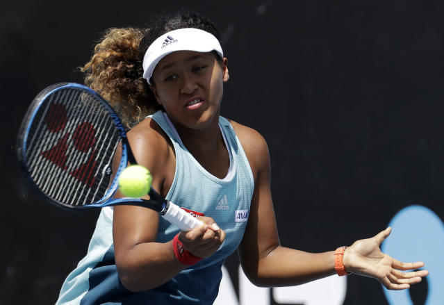 Japan's Naomi Osaka hits a forehand during a practice session at the Australian Open tennis championships in Melbourne, Australia, Friday, Jan. 25, 2019. Osaka will play Petra Kvitova of the Czech Republic in Saturday's women's final. (AP Photo/Mark Baker)