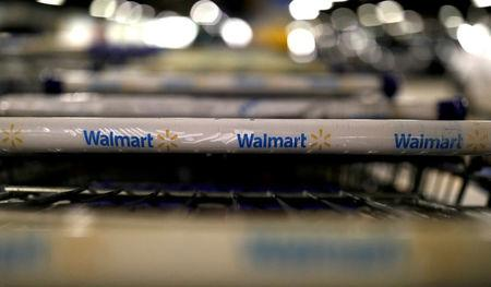 FILE PHOTO: The logo of Walmart is seen on shopping trolleys at their store in Sao Paulo