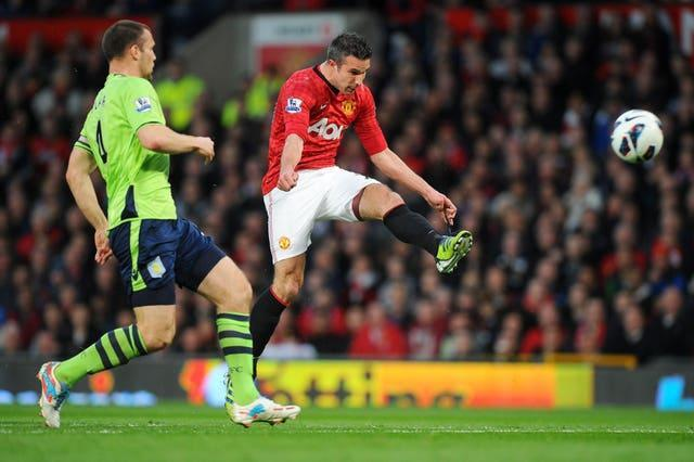 Robin Van Persie, right, scored a hat-trick as Manchester United sealed the 2011-12 Premier League title with a 3-0 victory over Aston Villa
