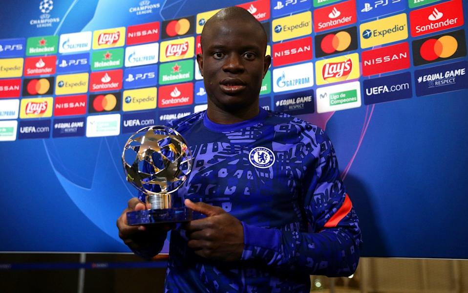 Ngolo Kante of Chelsea poses for a photo with the UEFA Player of the match award after the UEFA Champions League Semi Final First - Getty Images