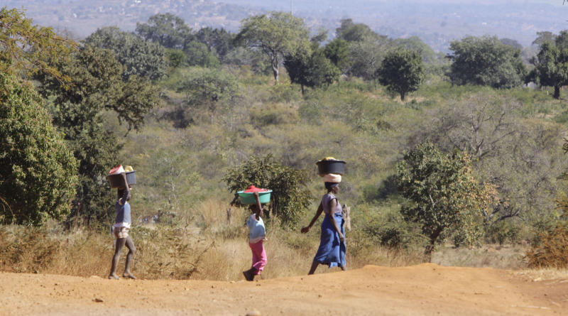 In this photo taken Sunday June 10, 2012, a woman and two girls make their way to a river to collect water and wash clothes near Thohoyandou, South Africa. Leaders of the country's governing African National Congress are fiercly debating how Africa's largest economy can create jobs, attract foreign investment, help the poor and stave off social unrest amid worldwide recession (AP Photo/Denis Farrell)
