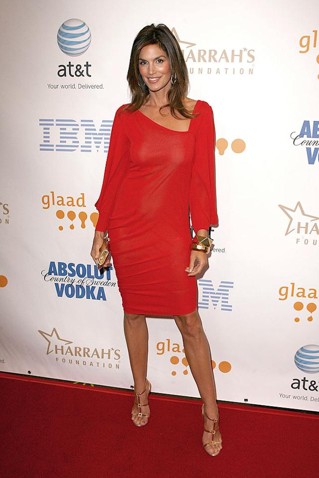 "At age 42, supermodel Cindy Crawford is still red hot. Jeff Vespa/<a href=""http://www.wireimage.com"" target=""new"">WireImage.com</a> - April 26, 2008"