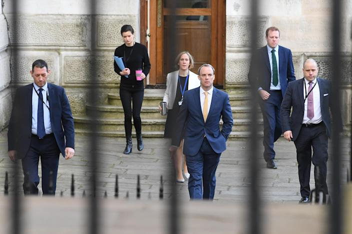 Foreign secretary Dominic Raab, centre, is in charge of the government's response to the coronavirus crisis while the PM is in hospital. (PA)